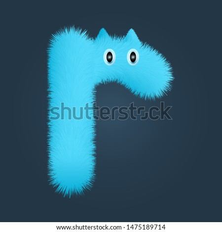 Small cap letter r fluffy logo isolated. Alphabet vector image Stock fotó ©