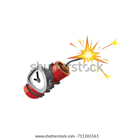 Small cartoon dynamite with analog timer is ready to explode. Cartoon art style. Isolated Vector Illustration on white background.