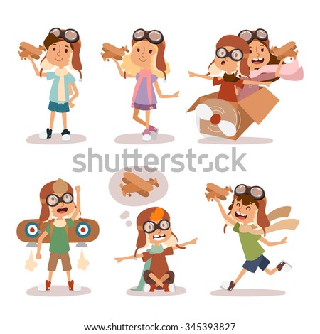 small cartoon vector kids