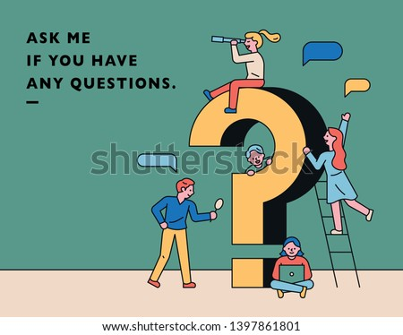 Small characters asking questions around a huge question mark. flat design style minimal vector illustration