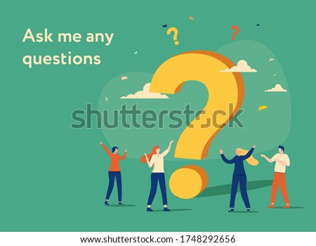 Small characters asking questions around a huge question mark. flat design style minimal vector illustration. People Characters Standing near Question mark. Frequently Asked Questions Concept.