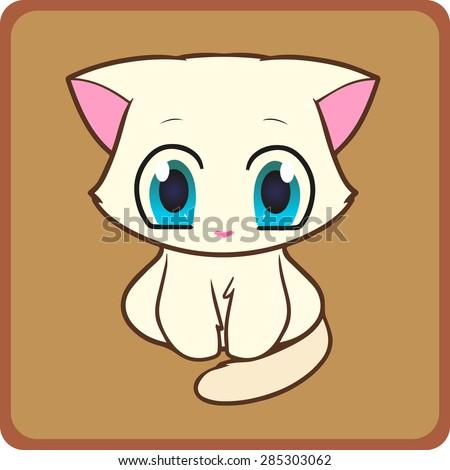 small charming white kitten on