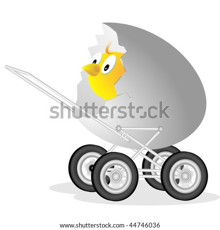 Small chicken in walking children`s carriage made of egg shell on white background