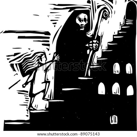 small child following the image of death up some stairs.