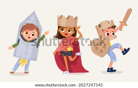 Small children dressed up in astronaut, rocket, knight, princess, queen costume standing in various poses isolated vector illustration. New look for kids costume party. Dressing up for party, carnival