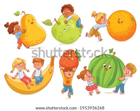 Small children holding big fruits. Colorful cartoon characters. Vector illustration. Isolated on white background