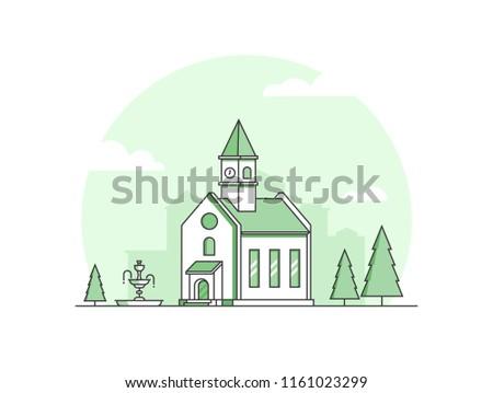 small church   modern thin line