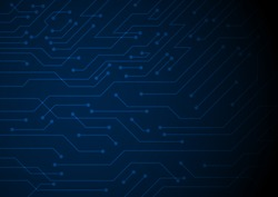 Small circuit lines texture on dark blue background