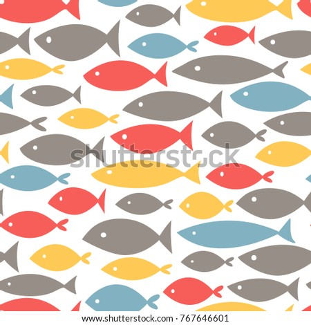 small colorful fishes on white