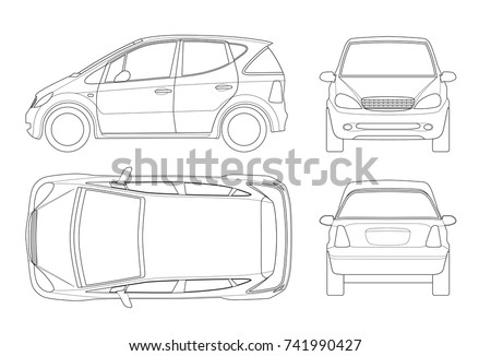 Small Compact Electric vehicle or hybrid car on outline. Eco-friendly hi-tech auto. Template vector isolated. View front, rear, side, top. Easy to change the thickness of the lines.