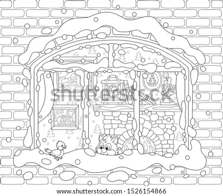 Small curious kitten looking through a window and watching a funny bird perched on a snow-covered windowsill on a frosty winter day, black and white vector illustration in a cartoon style