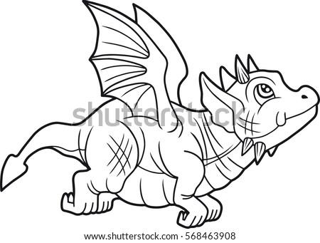 small cute dragon began its