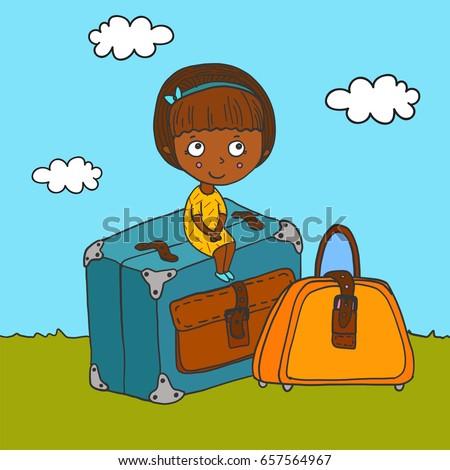small cute hand drawn traveler