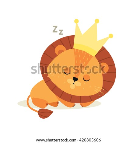 small cute lion cub sleeps