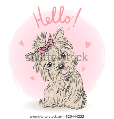 Small, cute puppy girl. Vector illustration.