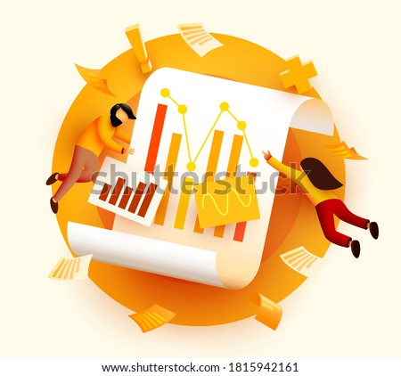 Small 3d flying and analyzing diagram data. Business audit concept. Vector illustration
