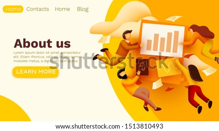 Small 3d flying people around business solution elements working together. Teamwork concept. Vector illustration