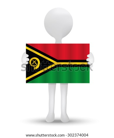 small 3d man holding a flag of