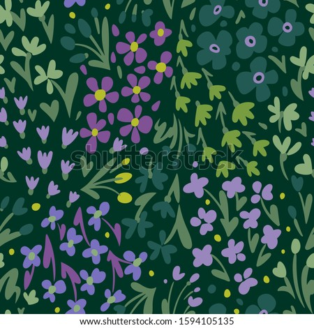 Small daisies and different meadow flowers, forbs and plants. Repeat botanical pattern. Hand drawn florals. Flat style illustration. Trendy fashion design for textile, fabric, surface and wrapping.