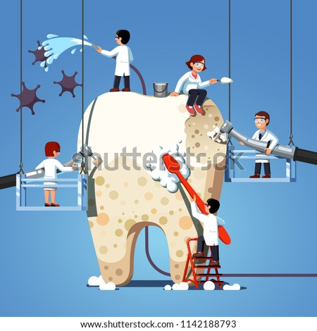 Small dentists people cleaning, treating big unhealthy tooth plaque and caries hole. Dentist doctors brushing, scaling, drilling plaque & caries tooth. Dentistry work concept. Flat vector illustration