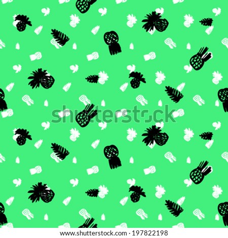 Small ditsy pattern with tropical motifs, hand drawn pineapples and leafs in bright aqua green and white colors on black background