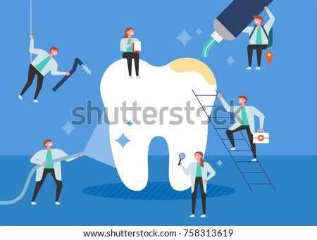 Small doctors who treat giant teeth like cures. poster concept vector illustration flat design