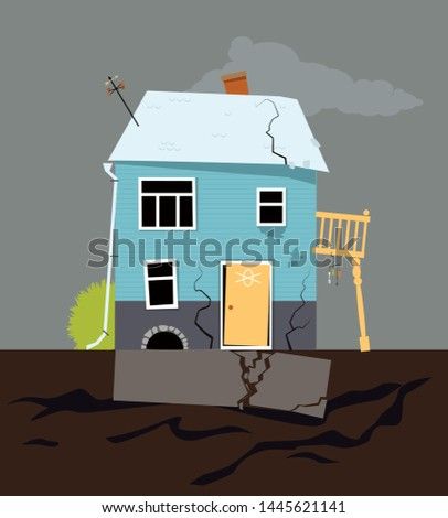 Small family house with foundation problems, EPS 8 vector illustration