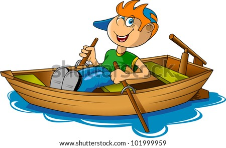 small fisherman on a big boat. (vector illustration);