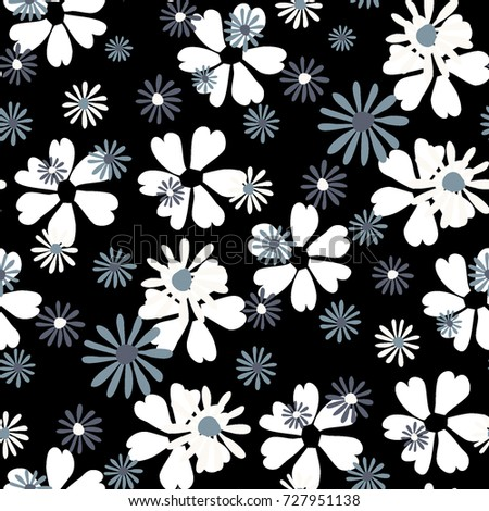 Small Floral Pattern. Cute Daisy Flowers and Violets for Seamless Background, Cloth, Dress, Swimwear. Small Floral Rapport with Silhouettes of Primitive Flowers. Random Botanical Texture #727951138