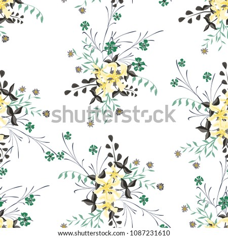 Small Floral Seamless Pattern with Pretty Wildflowers. Girlie Natural Background in Country Style with Small Blossoms of Daisy Flowers. Vector Ditsy Pattern for Wallpaper, Linen. Floral Texture