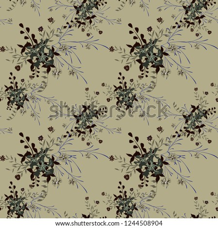 Small Floral Seamless Pattern with Pretty Wildflowers. Girlie Natural Background in Liberty Style with Small Blossoms of Daisy Flowers. Vector Ditsy Pattern for Wallpaper, Linen. Floral Texture