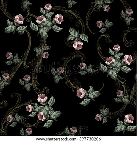 Small flowers pattern  with baroque swirls in vintage style