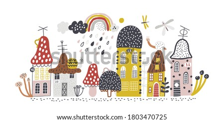 Small forest village. Childish vector illustration with mushrooms, houses, snails, butterflies and rainbow. Design for poster, card, bag and t-shirt, cover. Baby style. Stock photo ©