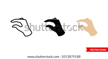 Small gesture icon of 3 types: color, black and white, outline. Isolated vector sign symbol.