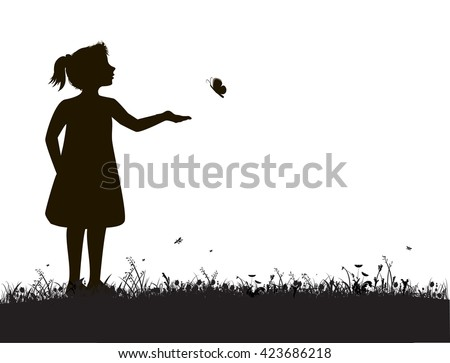 small girl and butterfly  try