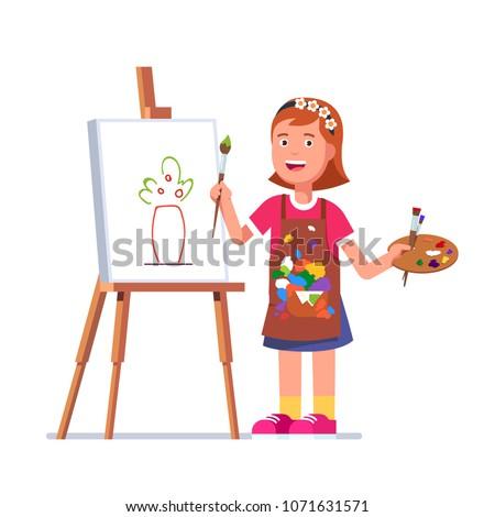 small girl arts student kid