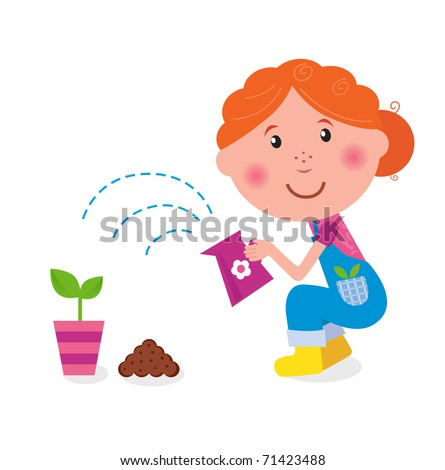 Small girl is watering plant in the garden. Vector.