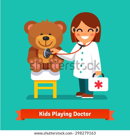 small girl playing a doctor