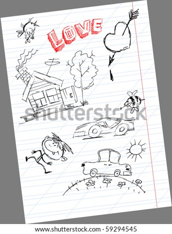 small house and a car drawn on notebook sheet