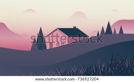 small house behind small hills