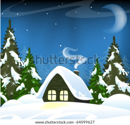 Small house in a snowy forest. Winter Landscape.