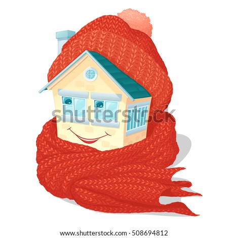 small house in a warm knitted orange cap and a scarf, with a smile on a wall and eyes in the form of windows