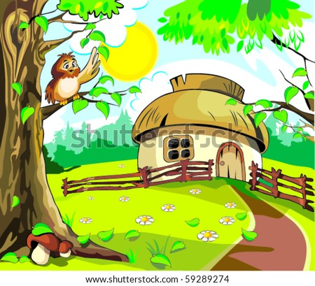 Small house under blue sky in which sun shining to the brown own on the tree under the leaf