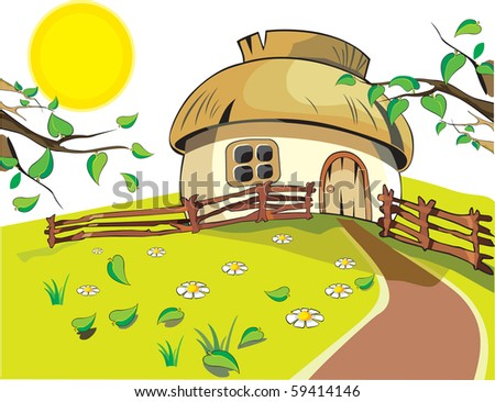 small house under with sun