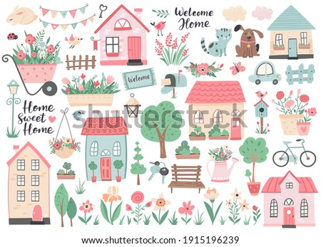 Small houses, garden flowers and trees. Perfect for scrapbooking, poster, tag, sticker kit , greeting cards, party invitations. Hand drawn vector illustration.