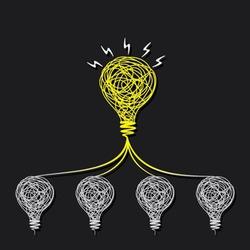 small idea make big idea or every bulb connect to small bulb concept vector