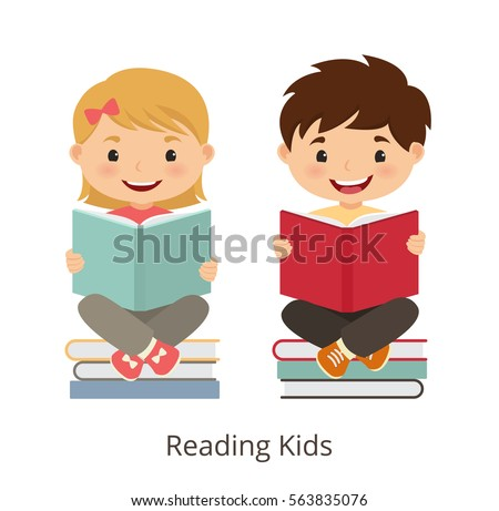 Small kids holding open books and reading. Vector concept illustration