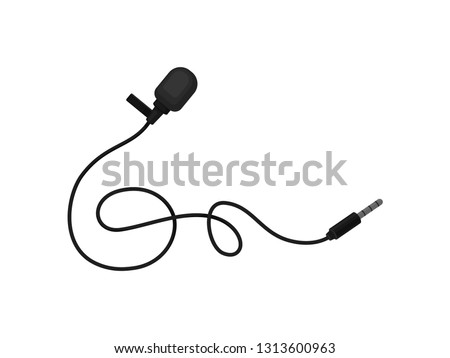 Small lavalier microphone with clip. Professional sound recording equipment. Lapel mic. Flat vector icon ストックフォト ©