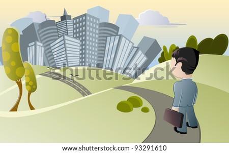 small man and big city - stock vector