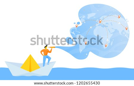 Small man in paper boat. Concept of searching with spyglass a place to travel in flat or cartoon style